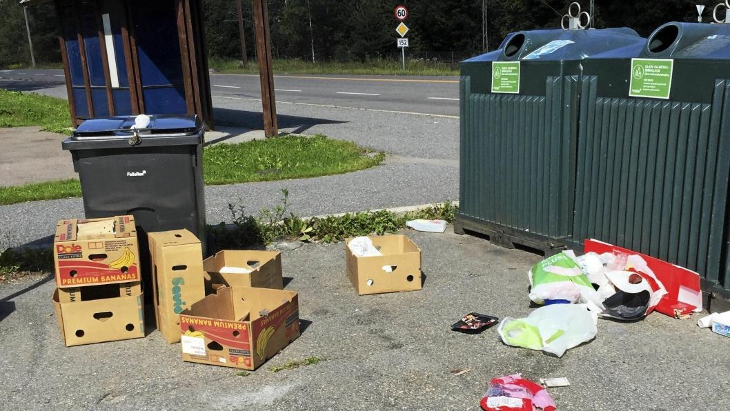 IKKE BRA: Hvem som har slengt fra seg søppelet ved bussholdeplassen på Greverud er ukjent