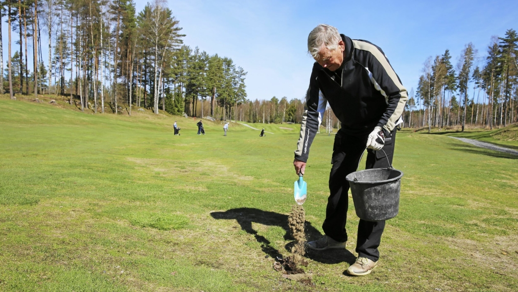 SÅR OG REPARERER: Slitasje er uunngåelig på en golfbane, men Einar Moe legger tilbake oppslått gress og fyller igjen hull med en blanding av sand og frø, så nytt gress vokser fram så fort som mulig.