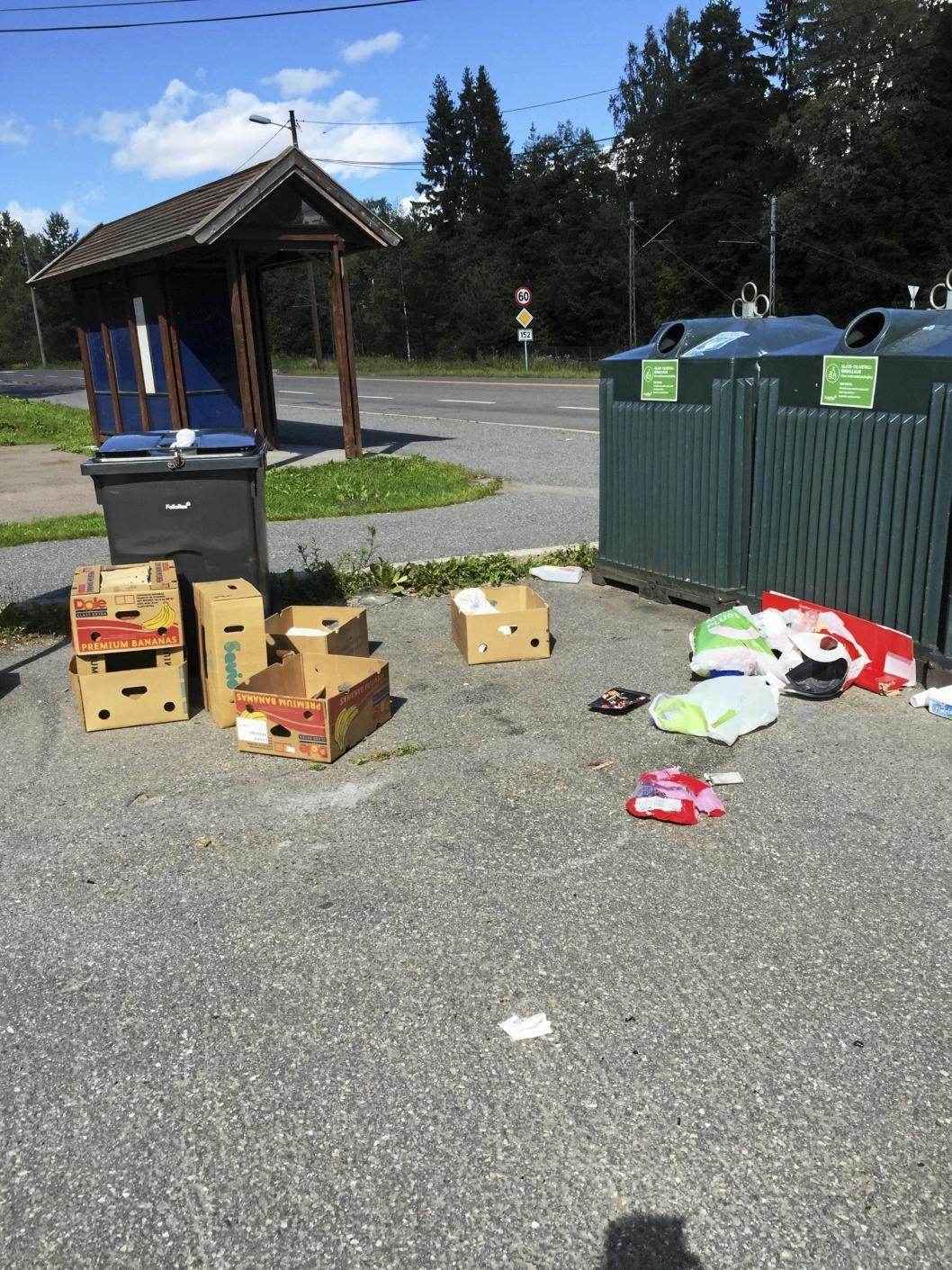 IKKE BRA: Hvem som har slengt fra seg søppelet ved bussholdeplassen på Greverud er ukjent.