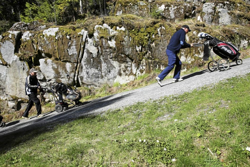 GOD TRIM: I løpet av en golfrunde går man en lang tur i terrenget. Her leder Tor Willy Johansen an foran Einar Moe.