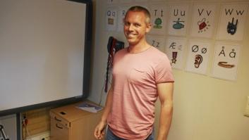 ENESTE MANN: Martin Høy er eneste mannlige lærer blant førsteklassingene ved Kolbotn skole.