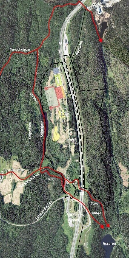 NYE ANLEGG:Den foreløpige skissen viser kun et eksempel på PNBs disponering av Taraldrud-tomten, som ble brukt for å studere tomtens egnethet. Du kan også se turveier (røde linjer) med grønne korridorer inn mot Sørmarka.