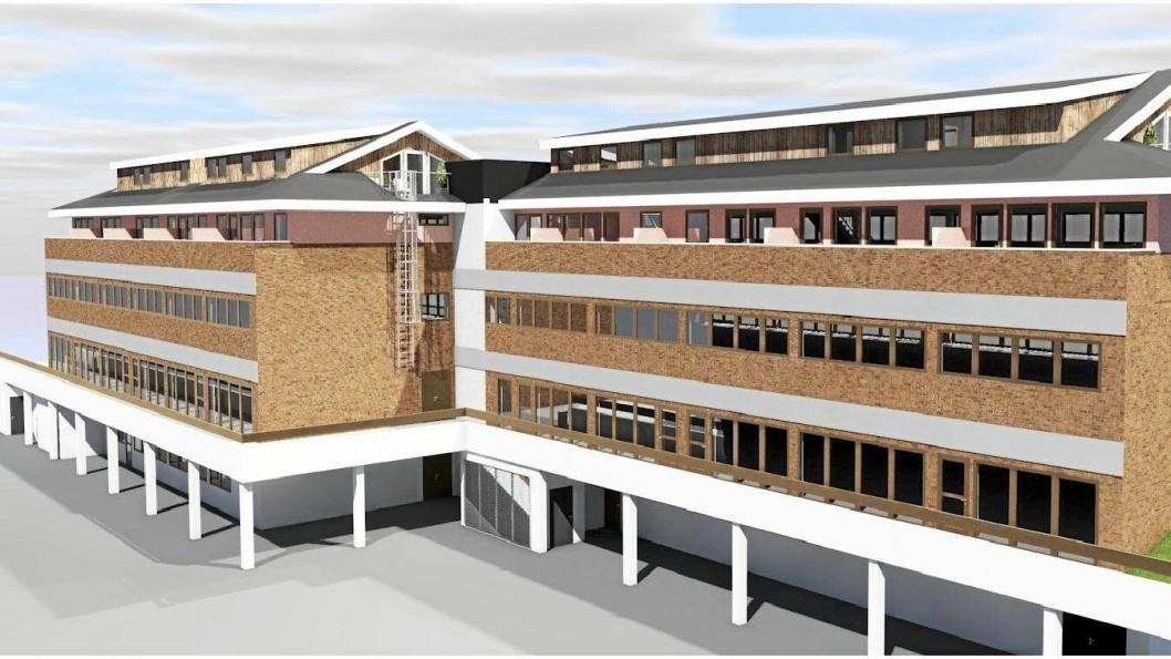 SJEKK FORSKJELLEN: Slik kan «nye» Oppegårdsenteret bli, sett forfra. Det er foreslått å bygge én treroms leilighet, to toroms leiligheter og én femroms leilighet på loftsetasjen.