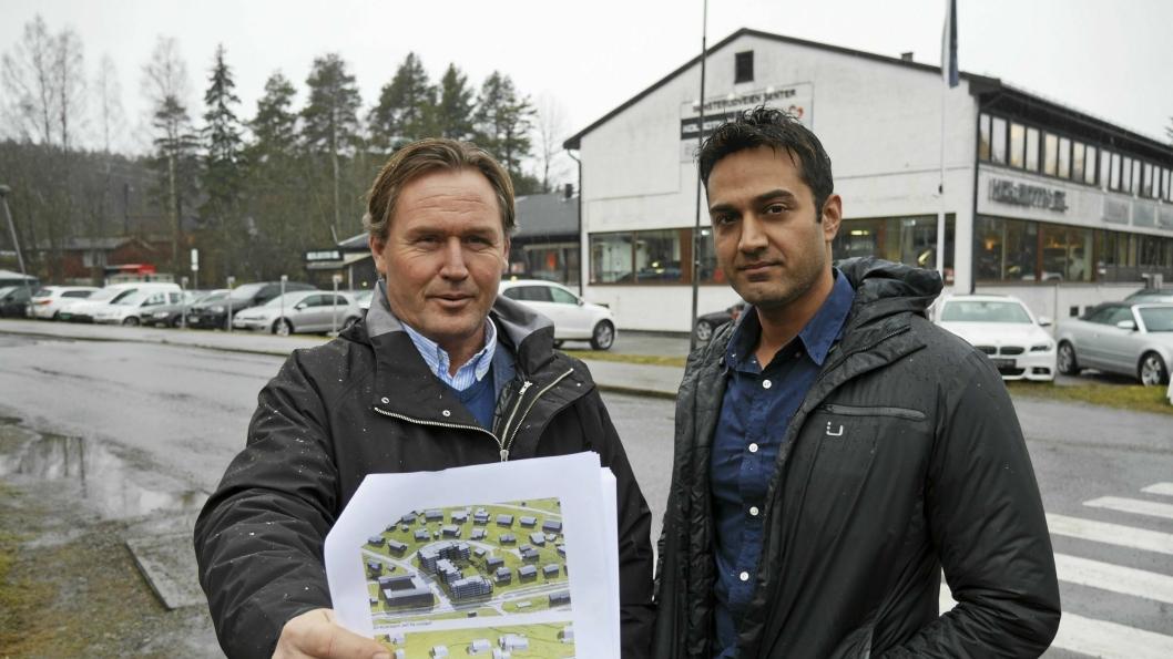 PARTNERE: Prosjektleder Geir Rønningen i Adle AS og Imran Shaukat i Kolbotn Bil AS driver Sønsterudveien 26 AS og skal utvikle boligprosjektet sammen.