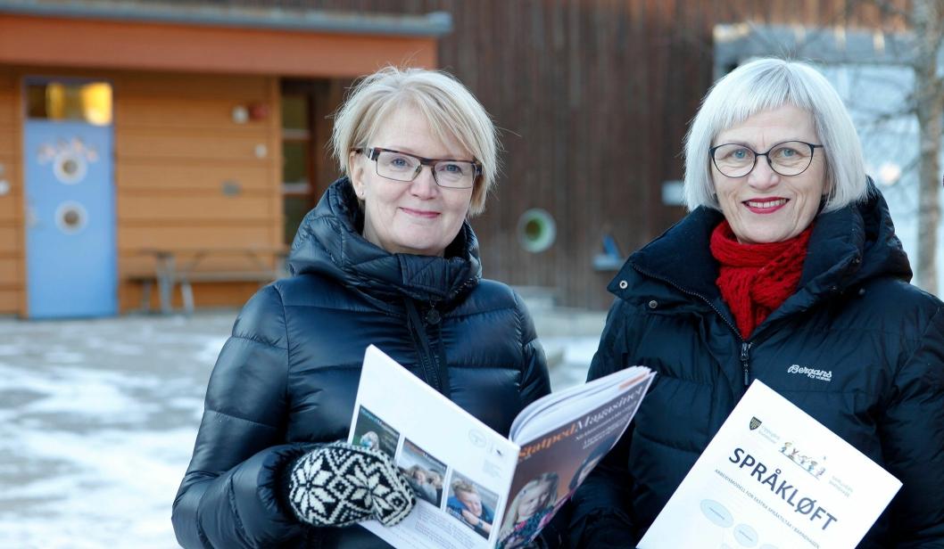 FORNØYDE: Berit Kragebøl er virksomhetsleder i Kapellveien barnehage (tv). Marit Egeberg er spesialpedagog i Oppegård kommune. Sammen har de utviklet prosjektet Språkløft.