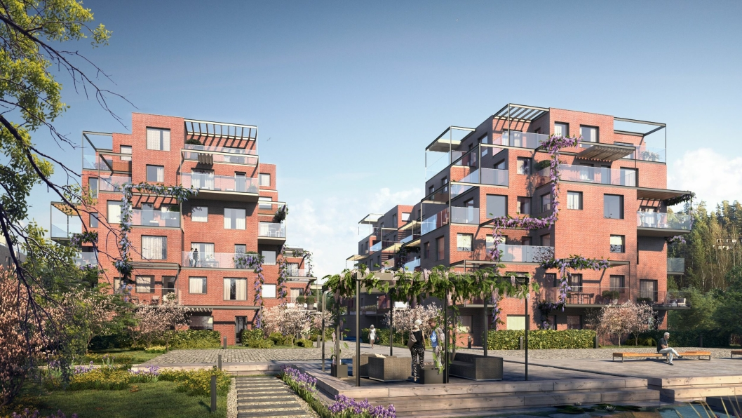 RØDE, FLOTTE BYGG: Slik kommer det tredje boligprosjektet i Ormerudveien til å se ut. Det får navnet «Skaret».