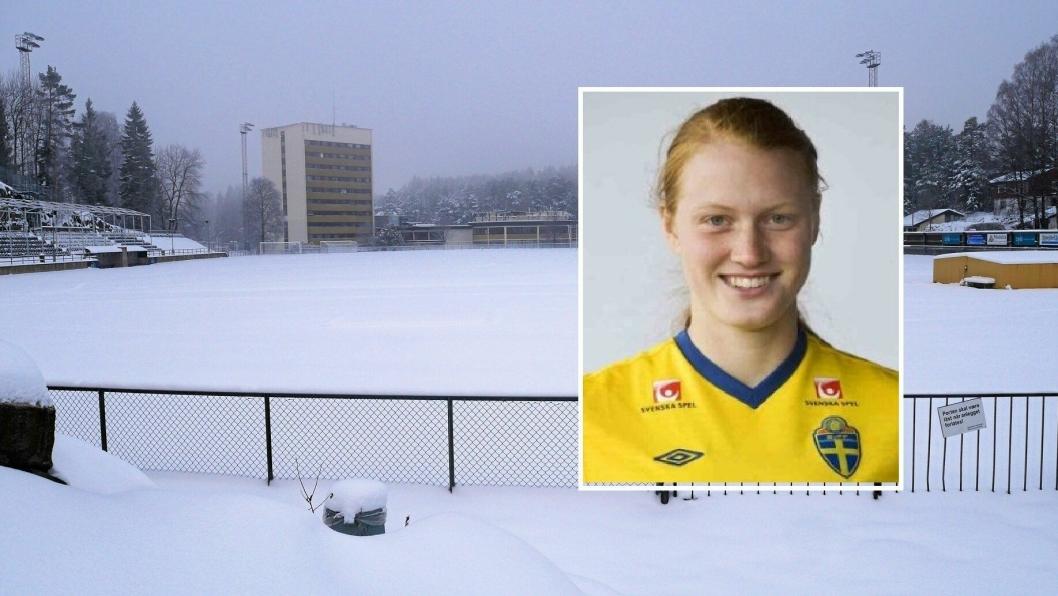 SPILLEKLAR: På Sofiemyr stadion ligger snøen tett, men om ikke så lenge skal Kolbotn-damene og deres nye, svenske kollega, Sanna Svensson, utpå for å rundspille alle de andre lagene i serien!