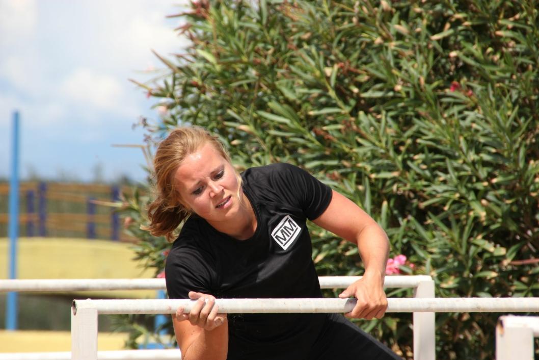 """NY """"KRONIDIOT"""": Helene Olafsen smalt til med hele 40 runder og ett hinder i øvelsen """"Kronidioten"""", og tok dermed rekorden fra fjorårets vinner Thor Hushovd."""