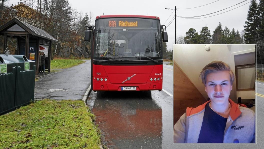 HIT, MEN IKKE LENGER: Nicklas Olsen Hoff er medlem av Unge Høyre, og ønsker å få til en buss mellom Oppegård og Ski. Han mener det er på høy tid at bussene går lenger enn bare til Greverud kirke.