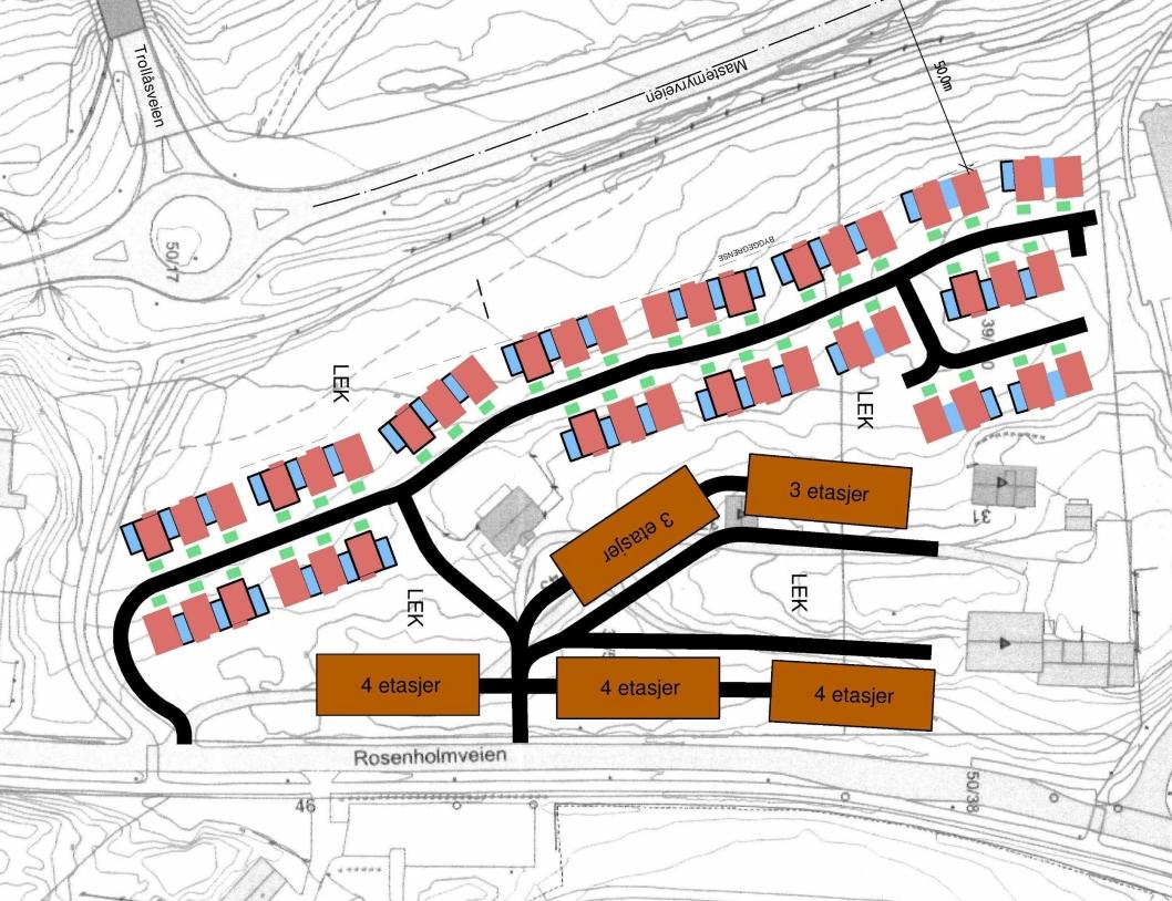 DETTE ER FORSLAGET: Fem lavblokker (vis-à-vis Kolbotn gravlund) og 43 kjedehus (bak boligblokkene).