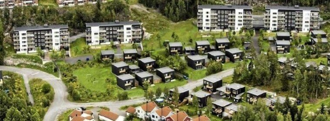 REFERANSEPROSJEKT: Boligprosjektet på Mortensrud, med en miks av lave blokker og rekkehus eller eneboliger i kjede.