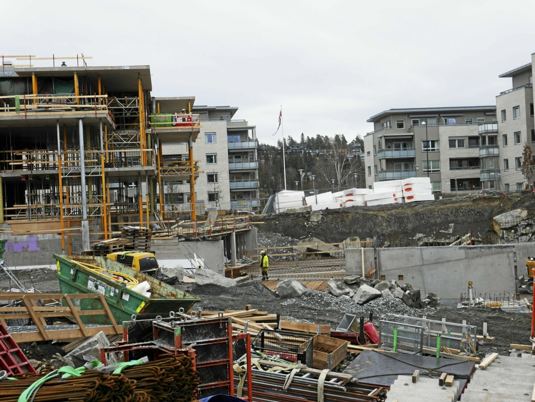 UNDER ARBEID: I dag bygges det to nye boligblokker i Kantorkvartalet. De er tegnet av Petter Bogen.