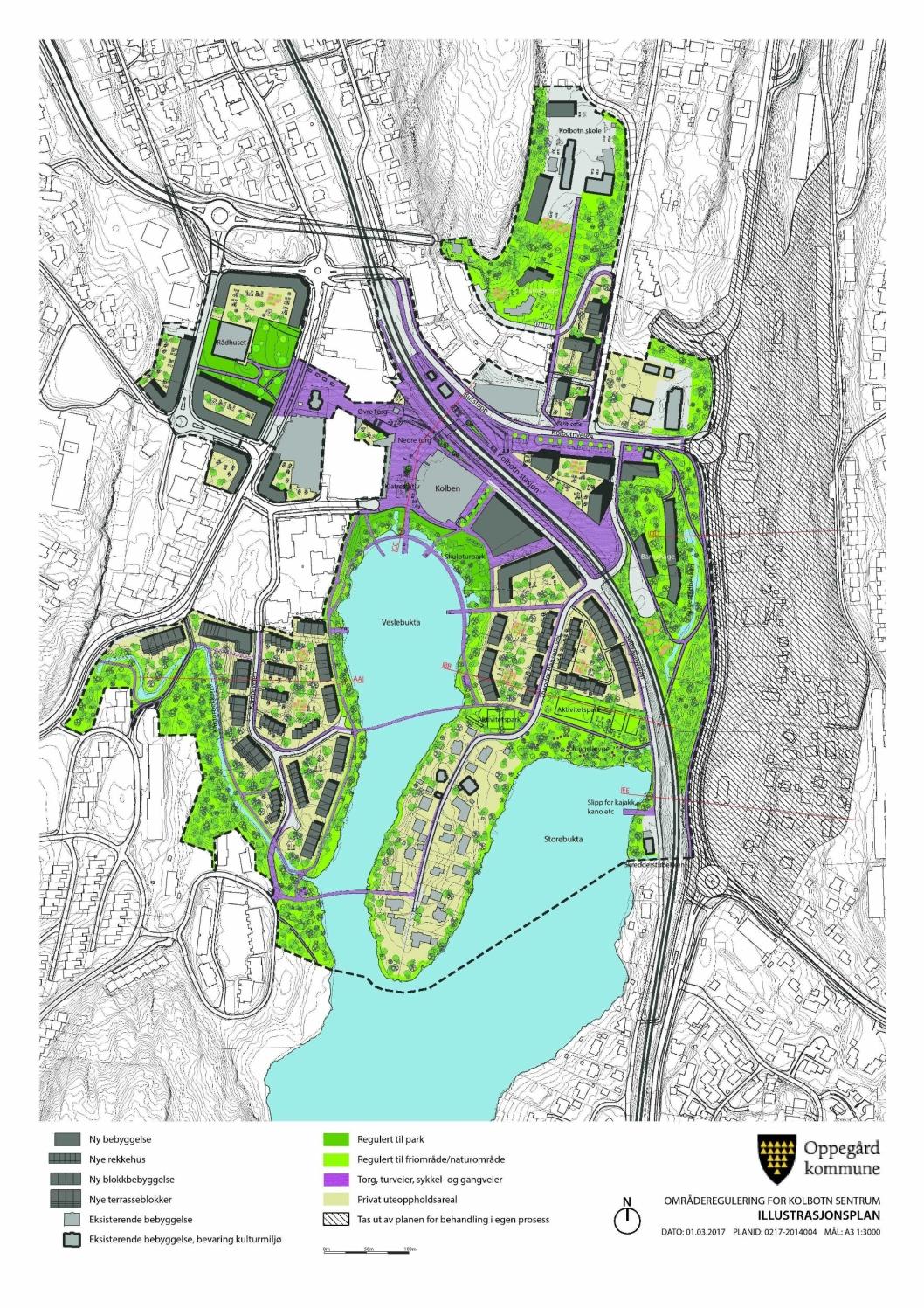 DETTE ER PLANEN: Bildet viser illustrasjonsplanen til områdereguleringen for Kolbotn sentrum, med ny bebyggelse, to broer og friområder/naturområder.