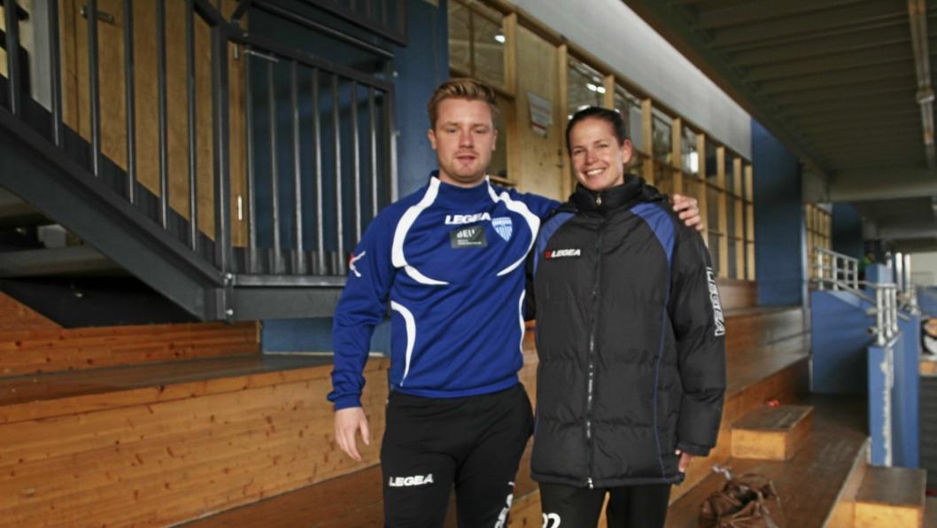 KLARE FOR SESONGEN: Hovedtrener Cecilie Berg Hansen og assistenttrener Fredrik Vold tror på Kolbotn i år.