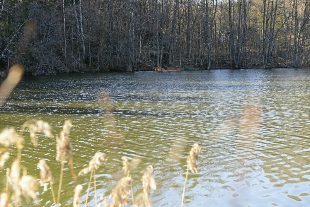 LENSER: De oransje lensene ligger ved Myrvollbekkens utløp for å hindre oljen i å nå Kolbotnvannet.