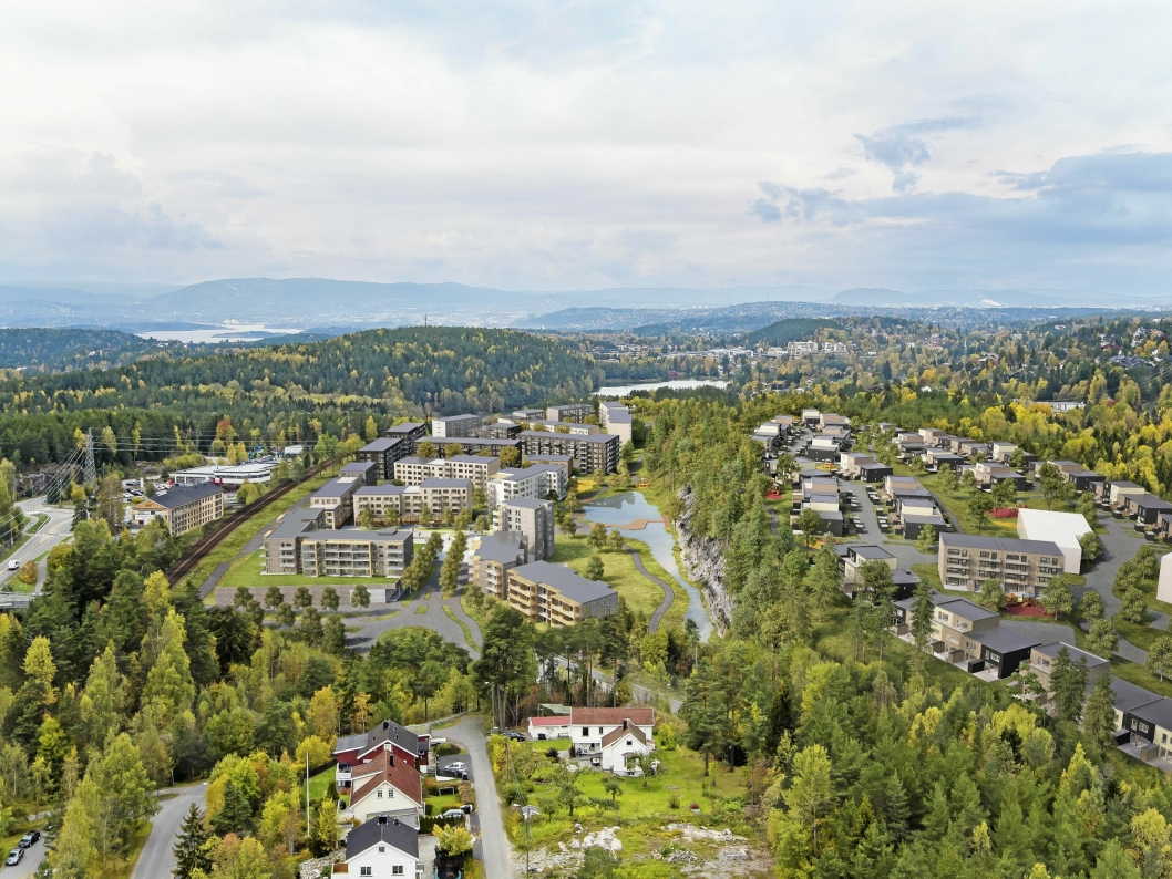 MYRVOLL STASJON: Det skal bygges ca. 800 boliger for over 2000 mennesker på Trelasttomta og Skogsåsen.