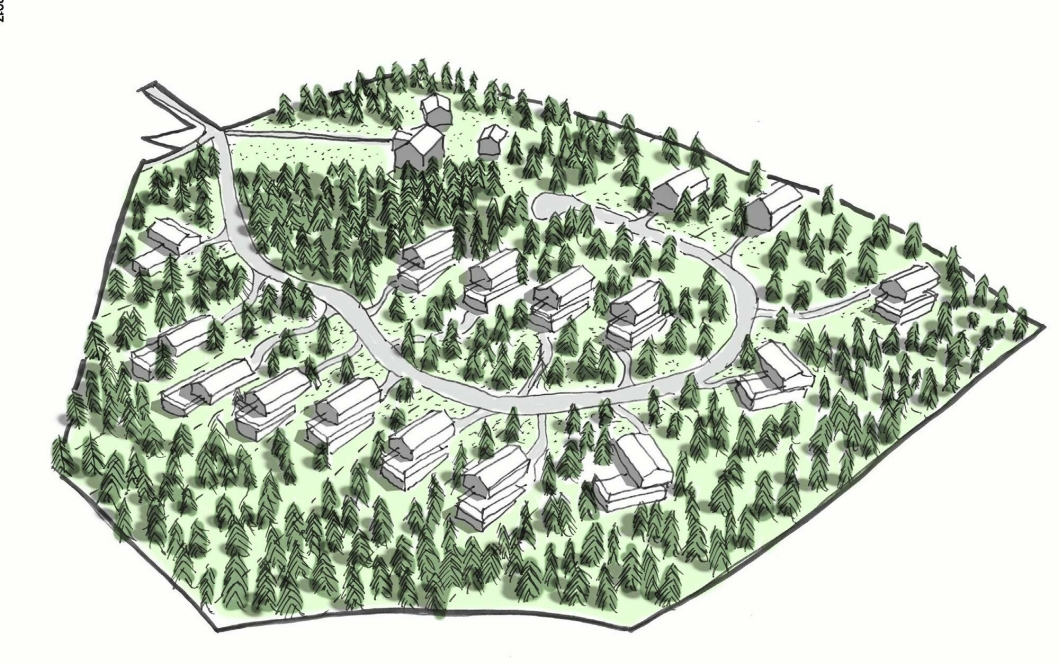 BOLIGOMRÅDE: Slik ser tegningen av det planlagte boligområde i Undsetskogen ut.