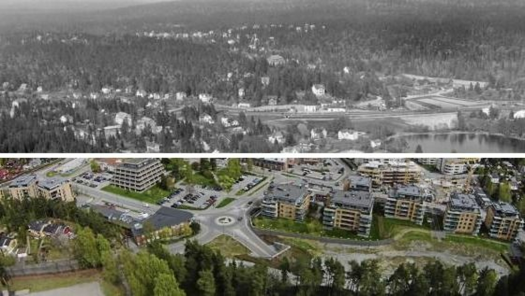 STOR FORSKJELL: I denne saken kan du se forskjellen på Kolbotn i 1963 og i dag. Lenger ned i saken kan du også swipe deg mellom tiårene.