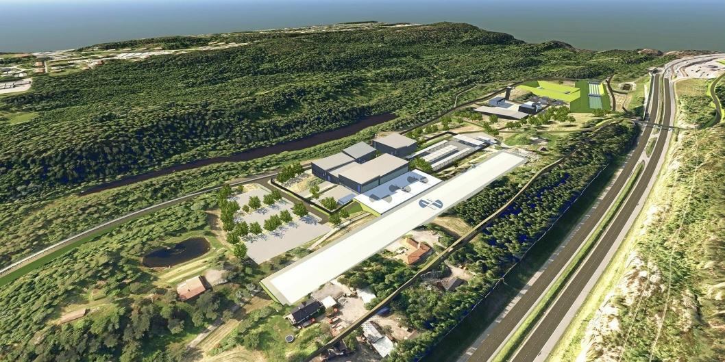 ENORMT:Helikopterplassen plasseres på en høytliggende del på tomten, parallelt med E6. I det fallende terrenget ned mot Snipetjern planlegges hangarer og hovedbygg..