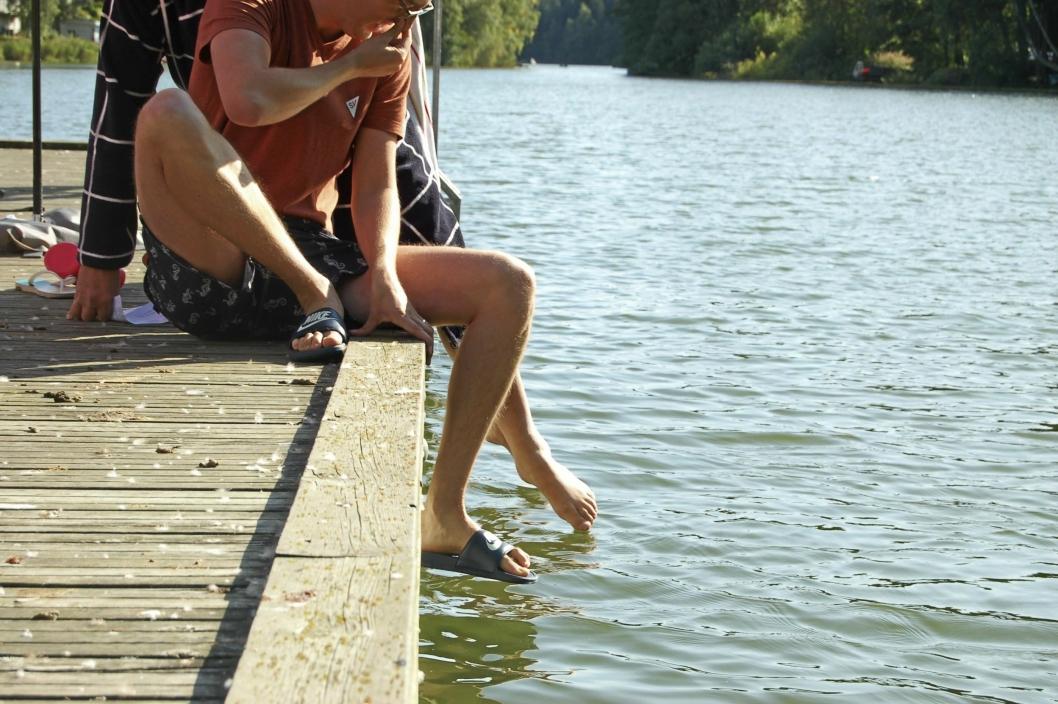 HOLD DEG PÅ LAND: Algemengden i Kolbotnvannet er stor for tiden, og det tilrådes ikke å bade verken for deg eller for din firbente venn..