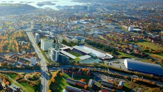 LITT AV ET BYGG: Slik ser den nye Vålerenga stadion ut, sett fra fugleperspektiv..