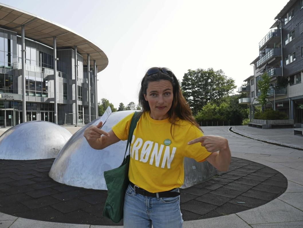 ENGASJERT: Maja S. K. Ratkje, her fotografert under valgkampen sist, er en av de to lederne i MDG i Nordre Follo.