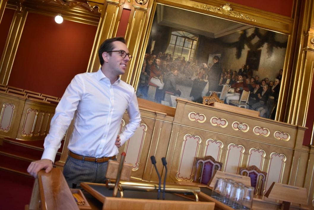 FOLKETS RØST: Her har Wilkinson blant annet snakket om Taraldrud (PNB), bare en uke etter at han begynte på Stortinget.