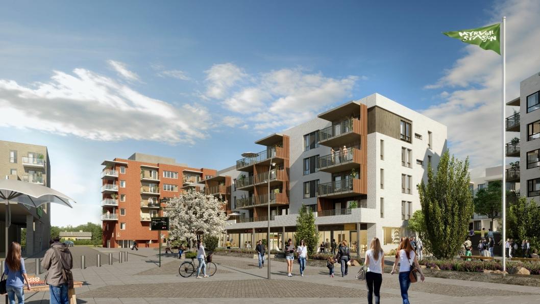 NEDE PÅ TOGET: På torget skal det bli både nødvendig handelsvirksomhet og boliger av alle slag, både leiligheter og rekkehus.