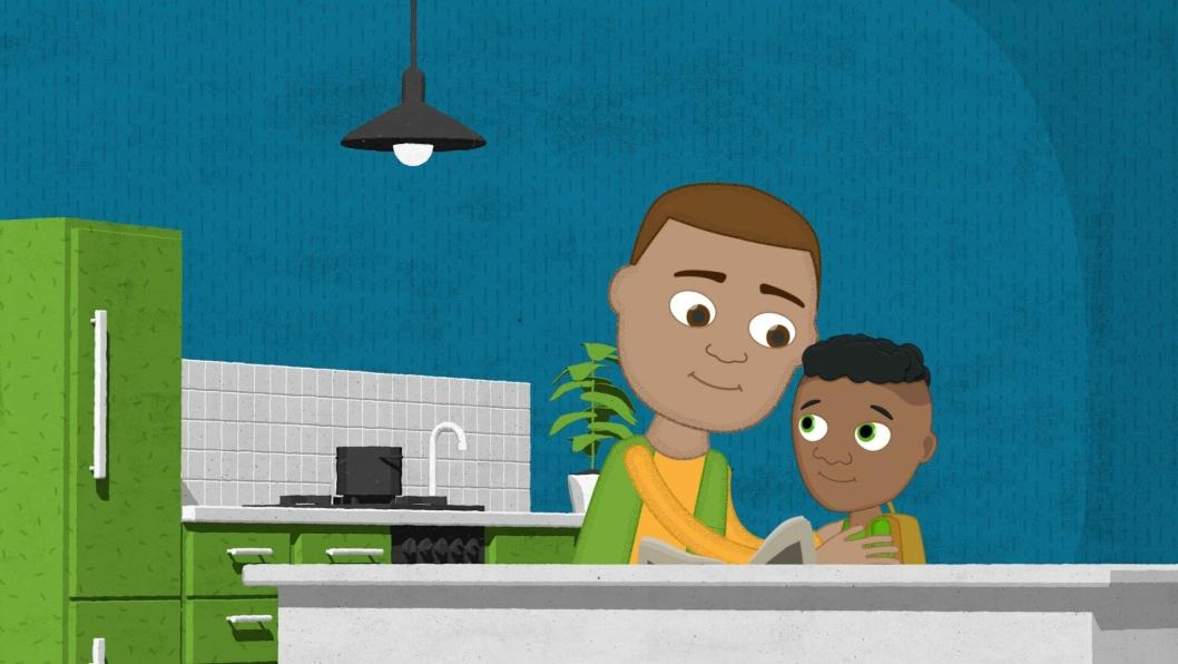FORTELLER: Her forteller en gutt i serien faren sin hva som har skjedd.