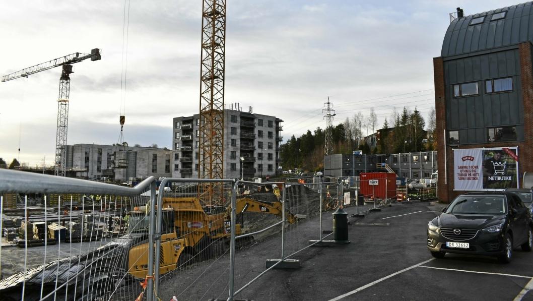 SLIK SER DET UT: Her er et bilde fra byggeplassen på Greverud Torget, tatt den 10. november.