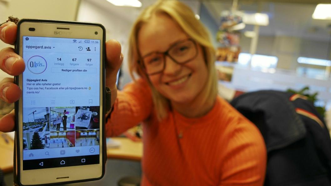 STOLT OG IVRIG: Oppegård Avis-journalist Synnøve Sundby Fallmyr gleder seg til å ta del i Instagram-hverdagen til våre lesere.