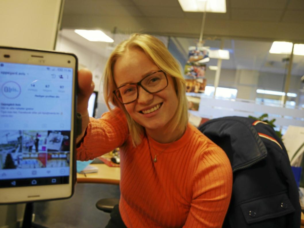 STOLT OG IVRIG: Oppegård Avis-journalist Synnøve Sundby Fallmyr gleder seg til å ta del i Instagram.hverdagen til våre lesere.