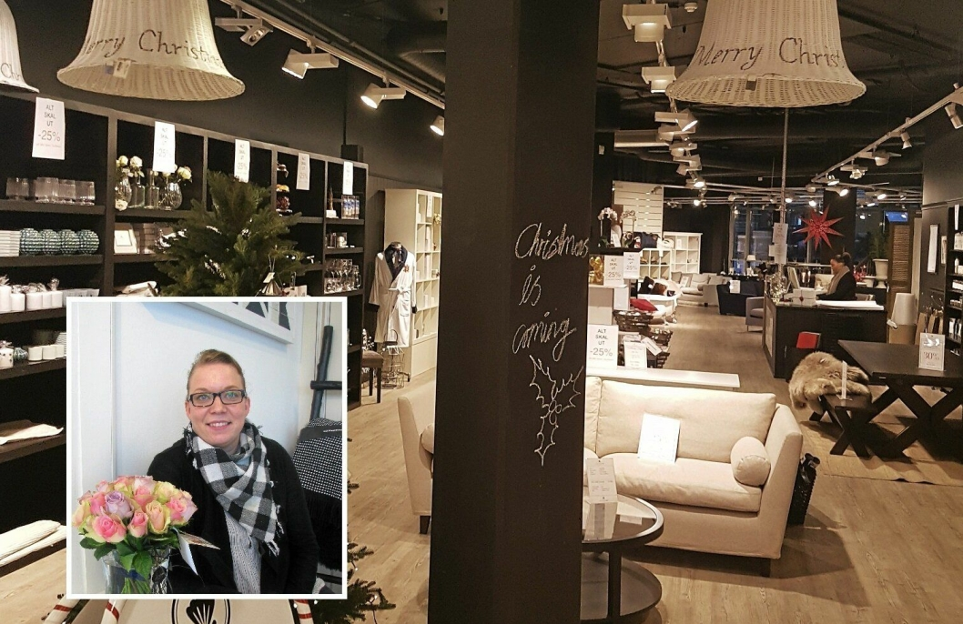 SLUTT: Interiørbutikken Ocean Home på Kolbotn Torg legger ned.. Daglig leder Anne Ellingsen Myrstad (innfelt) stenger nå dørene.