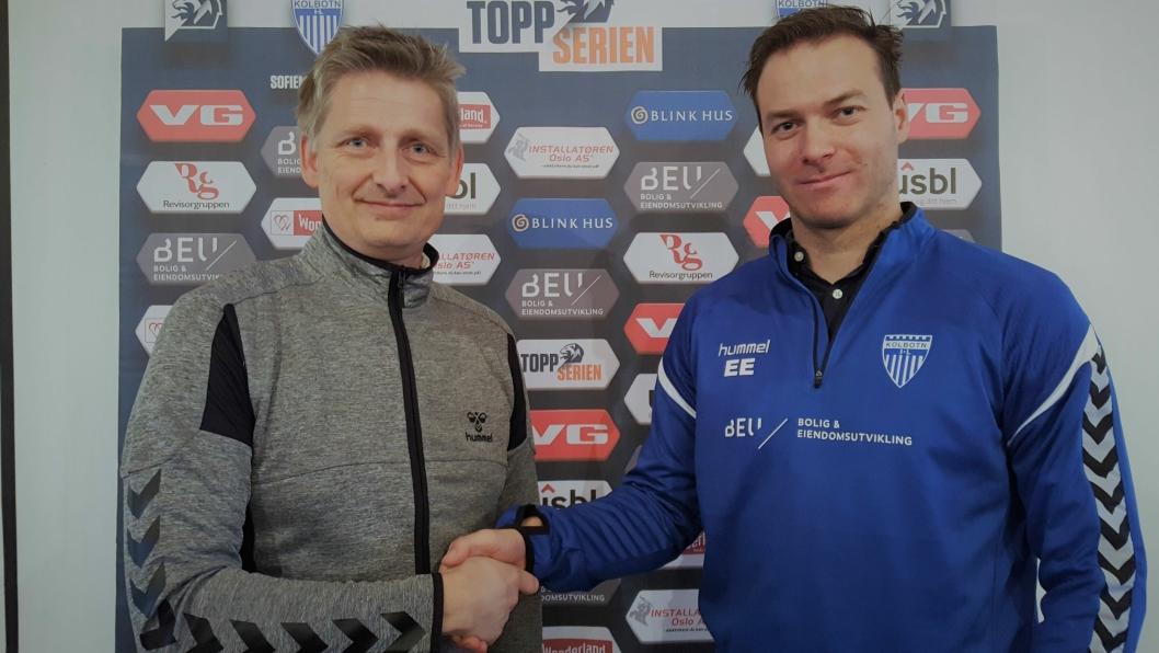 AVTALEN ER I BOKS: Knut Slatleim (t.h.) får fornyet tillit som hovedtrener for Kolbotns toppseriedamer, og Einar Engedahl i KIL er glad for at Slatleim skal gi alt for fotballen i et nytt år.