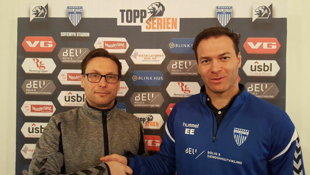FORNØYDE: Styreleder i Kolbotn Kvinnefotball, Thomas Østvold, er glad for at Knut Slatleim fortsetter som hovedtrener, og for at han nå får med seg flere knallfolk på trener-teamet.