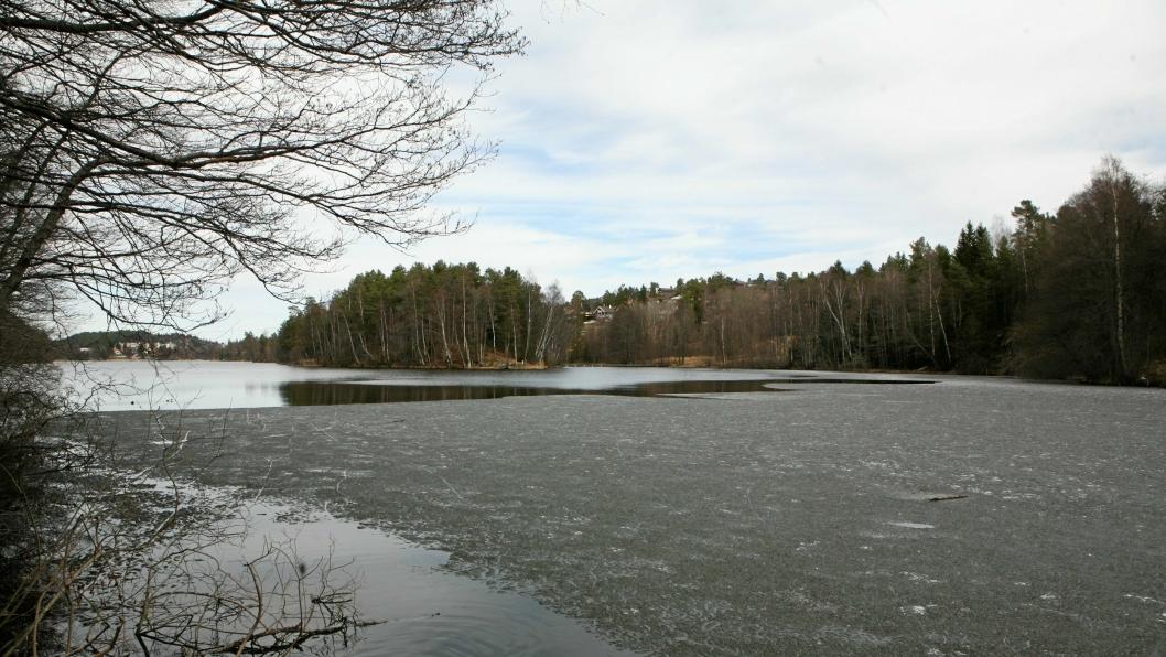 VÆR FORSIKTIG: Isen er utrygg mange steder på Kolbotnvannet, spesielt nå som været ikke har vært så kaldt. Vis hensyn og forsiktighet!