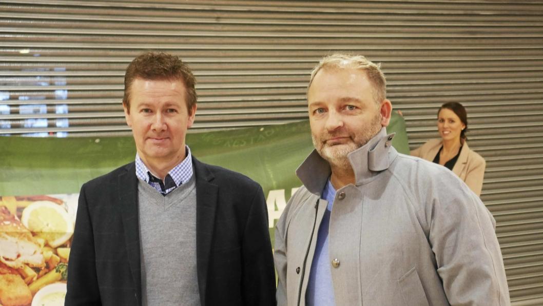 GLEDER SEG: Geir Sjøvold (t.v.) og Kjetil Døviken er eiere av O'Learrys, som nå kommer til Kolbotn torg.
