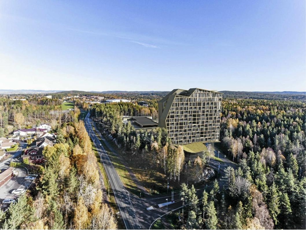 THE WELL RESORT: Et 50 meter høyt spahotell planlegges med 15 etasjer over sokkel og 200 hotellrom.