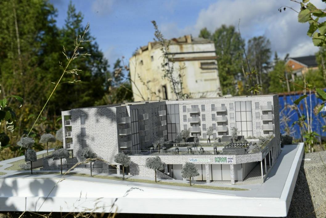 SLIK BLIR DET: Her ser du en modell av Centralen som skal bygges på Trelasttomta på Myrvoll.