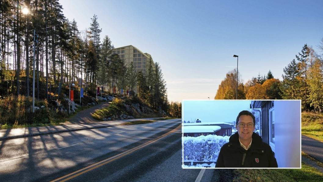 IKKE KLAR FOR MEGAHOTELL: Leder av Oppegård SV, Håkon Gulbrandsen (innfelt), ønsker å forhindre at The Wells hotell skal bli så høyt som det planlegges.