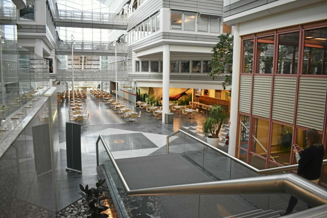 NYE NABOER: Rosenholm Campus Konferansesenter utvider etter at IBM flyttet ut i desember 2017. Til høyre i bildet er det IBM holdt til før. De rosa karmene skal bort, og det skal bli kontorhotell med plass til flere leietakere. Den store kantinen skal bli til et mer intimt og koseligere spiseri.