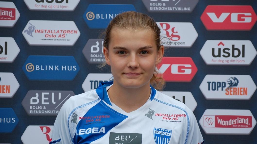 KLAR FOR Å SPILLE MED FLAGGET PÅ BRYSTET: Julie Hoff Klæboe fra Kolbotns toppserielag for tillit i J19-troppen. Nå skal hun altså få prøve seg på landslaget.