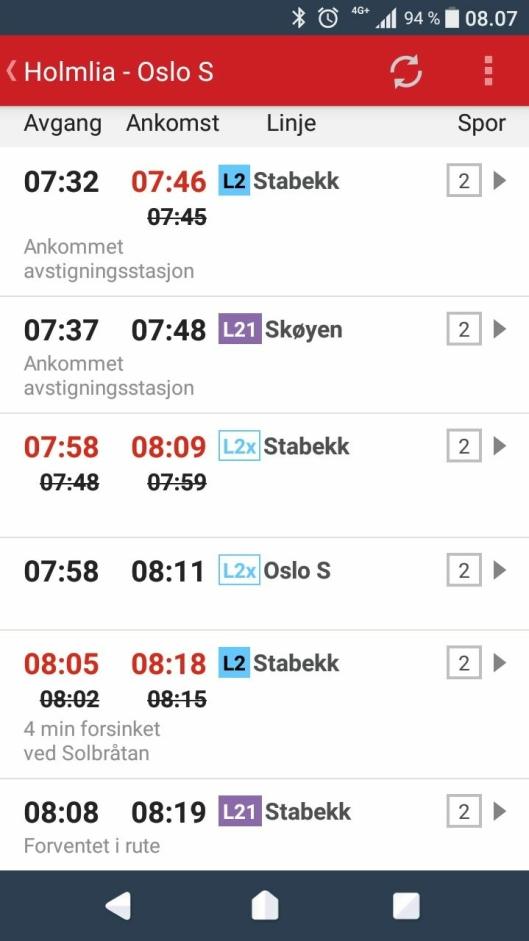UTFORDRINGER: Det er ikke enkelt å holde følge eller pendle med tog for tiden.