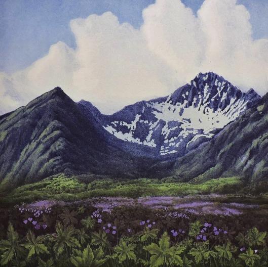 FLOTT: Mot St. Hans. Jan Harr maler fjellene han så fra gutteværelset i Harstad.