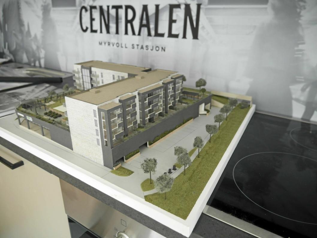 MODELL: Her ser du en modell laget av Trelasttomta, slik det blir på Centralen.