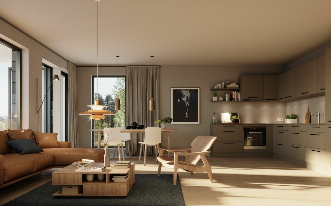 INNVENDIG: Her er en illustrasjon av hvordna leilighetene kan bli seende ut innvendig.