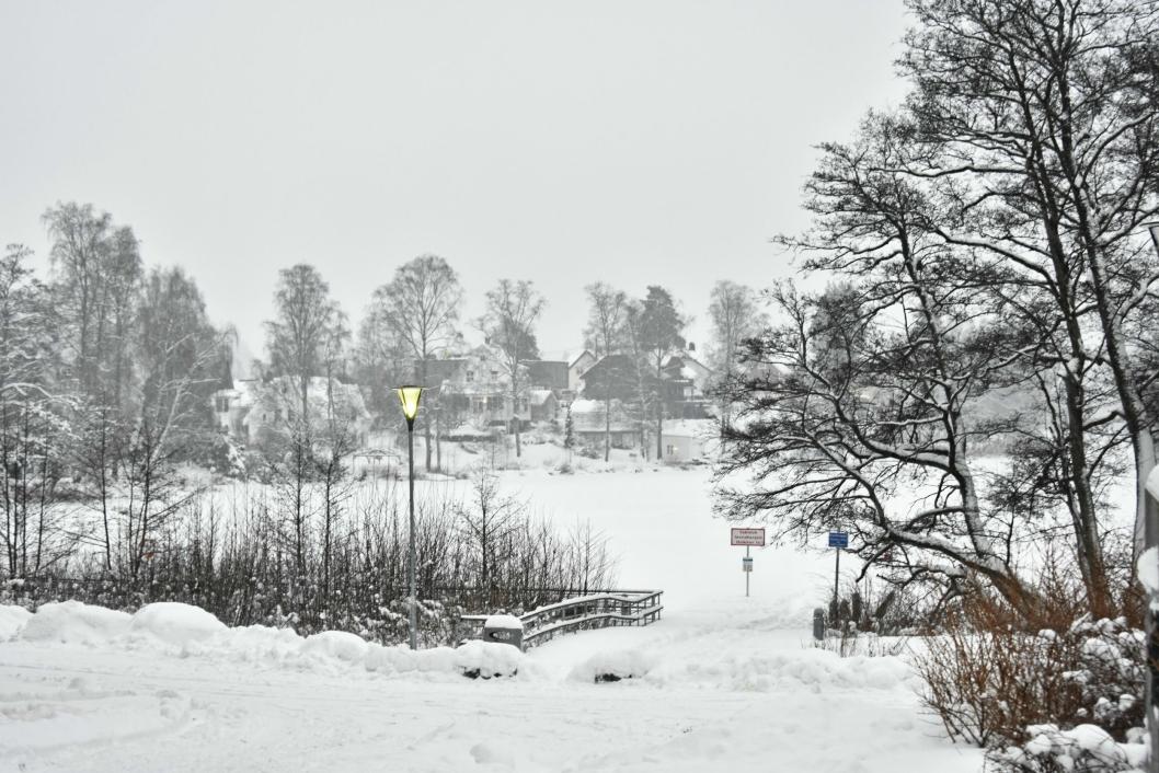 FINT: Pass på å sjekke isforholdene før du skal isfiske, men med dette sagt, så er det idyllisk på tjernet vårt for tiden!