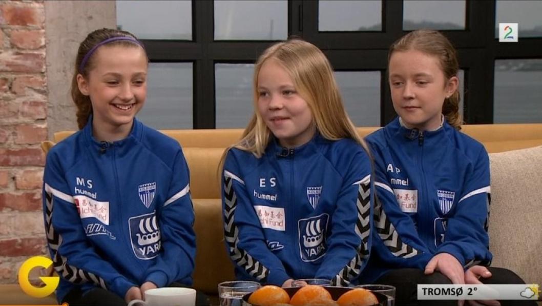 FOR NOEN HERLIGE JENTER: Kolbotns J06 ble kjendiser i God Morgen Norge på TV2.
