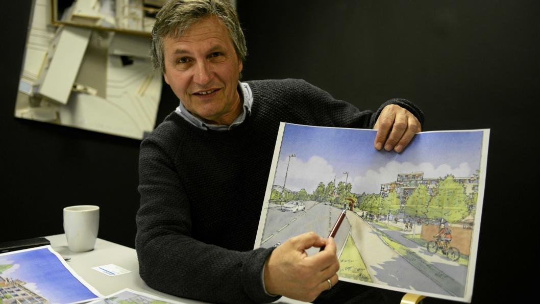 FOKUSERER PÅ UTEOMRÅDENE: Saksbehandler hos Kvernaas Arkitekter, Per Furuseth, synes det er viktig med gode uteområder i Sønsterudveien 2 a og b.