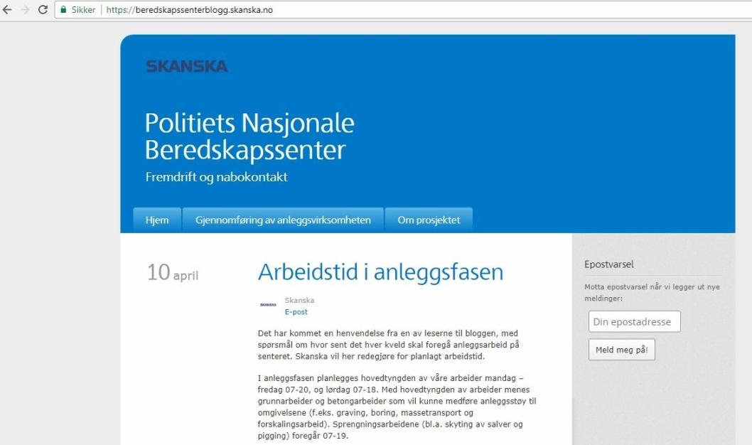 BLOGG: Skjermdump av Skanskas blogg om arbeidet.